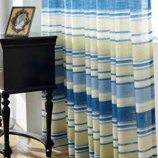 Beach Hut Blue and Yellow Horizontal Striped Semi Sheer Voile Curtain 4