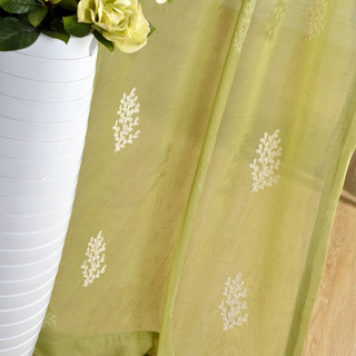 Sheer Curtain Trees of the Four Seasons Chartreuse Green Embroidered Voile Curtain 2