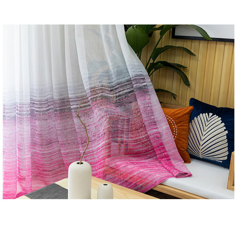 Brush Strokes Pink Sheer Voile Curtains 1