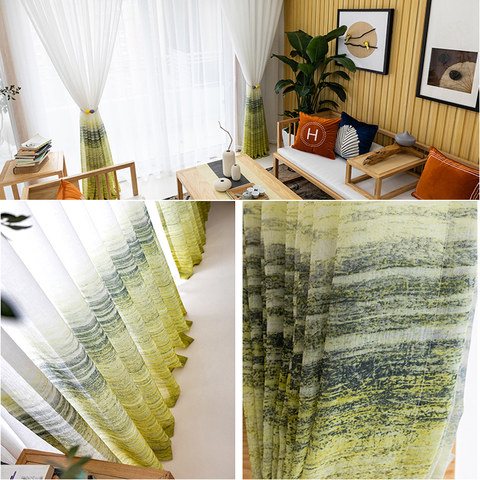 Brush Strokes Yellow Sheer Voile Curtains 5