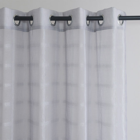 Roma Striped Grid Textured Weaves Grey Sheer Voile Curtains 1