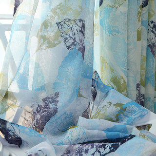 Swaying In The Breeze Blue Block Leaf Print Voile Sheer Curtain 1
