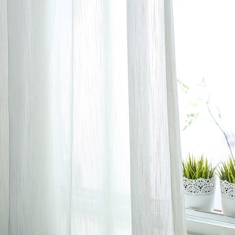 Sheer Curtain Silk Waterfall White Voile Curtain 1