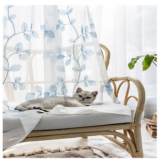 Winter Branches Blue Embroidered Sheer Voile Curtain 2