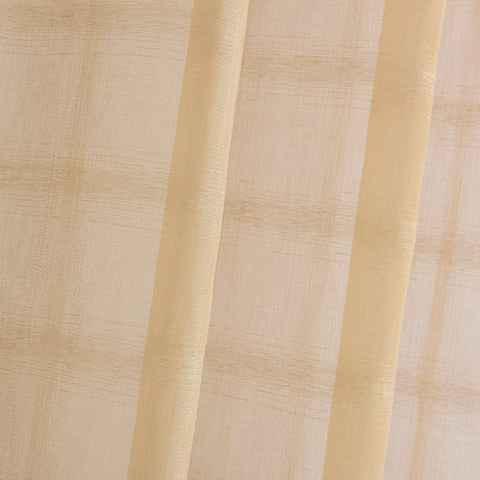Roma Striped Grid Textured Weaves Gold Sheer Voile Curtains 2