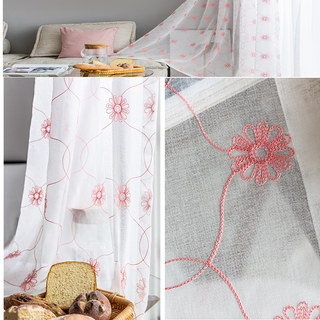 Flora Pink Daisy Trellis Embroidered Sheer Voile 3