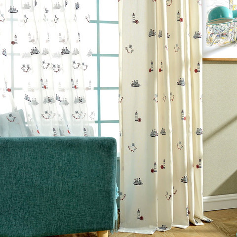 Ahoy Embroidered Sheer Voile Curtain 3