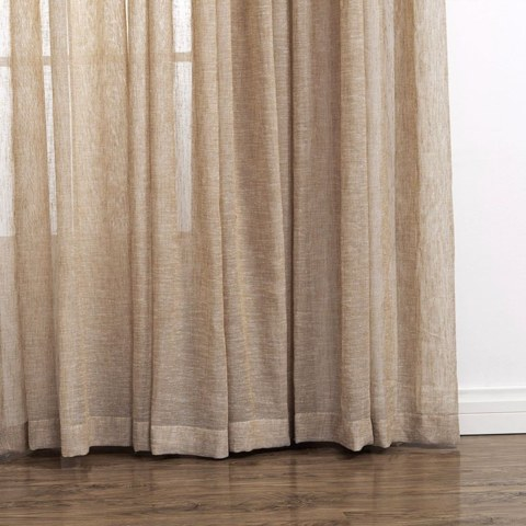 Daytime Textured Weaves Light Brown Sheer Voile Curtain 3