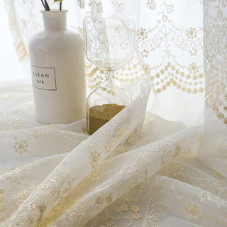 Royally Gold Intricate Detailed Embroidered Sheer Voile Curtain 3