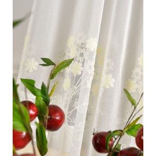 Sheer Curtain Flower Banquet White Floral Embroidered Voile Curtain 3