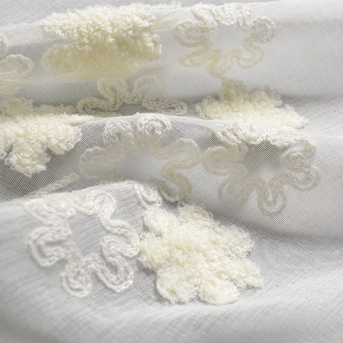 Sheer Curtain Flower Banquet White Floral Embroidered Voile Curtain 4