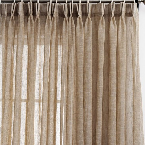 Daytime Textured Weaves Light Brown Sheer Voile Curtain 2