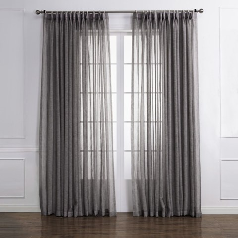 Daytime Textured Weaves Charcoal Light Grey Sheer Voile Curtain 1