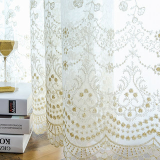 Royally Gold Intricate Detailed Embroidered Sheer Voile Curtain 7