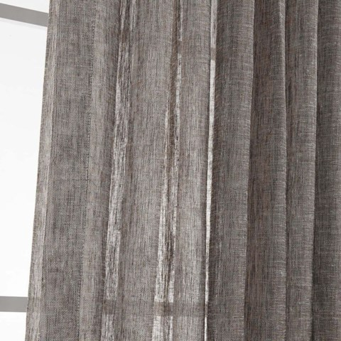 Daytime Textured Weaves Charcoal Light Grey Sheer Voile Curtain 4