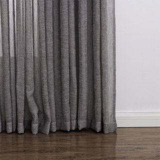 Daytime Textured Weaves Charcoal Light Grey Sheer Voile Curtain 3
