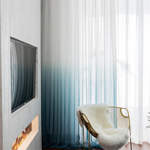 The Perfect Blend Ombre Pacific Blue sheer Curtain 1
