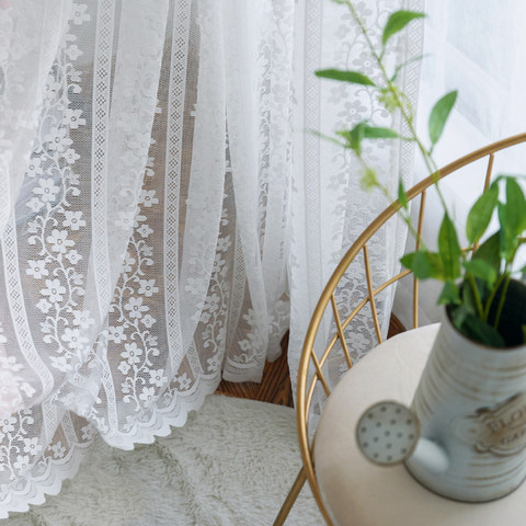 Delicate Flowers White Sheer Voile Curtain with Column Detail and a Scalloped Edge 1