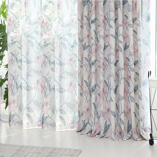 Spring Bloom Pink Floral and Foliage Print Sheer Voile Curtains 1