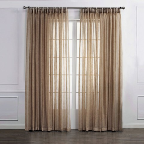 Daytime Textured Weaves Light Brown Sheer Voile Curtain 1