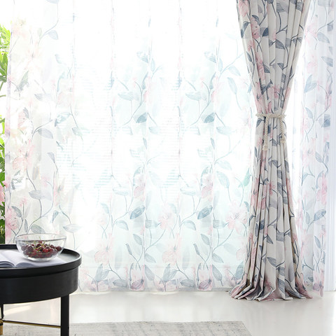 Spring Bloom Pink Floral and Foliage Print Sheer Voile Curtains 2