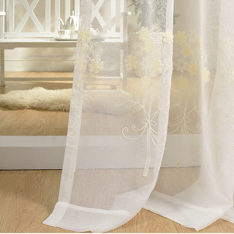 Sheer Curtain Flower Banquet White Floral Embroidered Voile Curtain 6