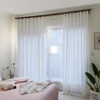 Delicate Flowers White Sheer Voile Curtain with Column Detail and a Scalloped Edge 3