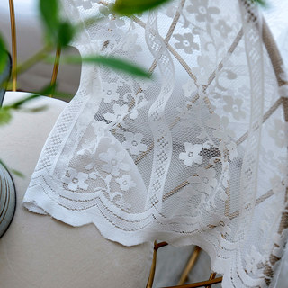 Delicate Flowers White Sheer Voile Curtain with Column Detail and a Scalloped Edge 5