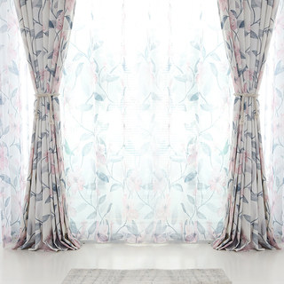 Spring Bloom Pink Floral and Foliage Print Sheer Voile Curtains 3