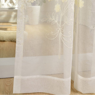 Sheer Curtain Flower Banquet White Floral Embroidered Voile Curtain 2