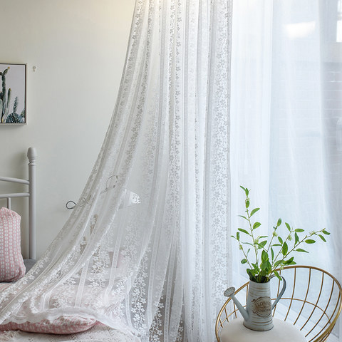 Delicate Flowers White Sheer Voile Curtain with Column Detail and a Scalloped Edge 2