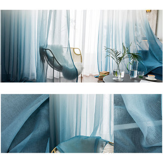 The Perfect Blend Ombre Pacific Blue sheer Curtain 4