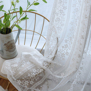 Delicate Flowers White Sheer Voile Curtain with Column Detail and a Scalloped Edge 4