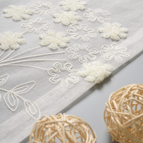Sheer Curtain Flower Banquet White Floral Embroidered Voile Curtain 5