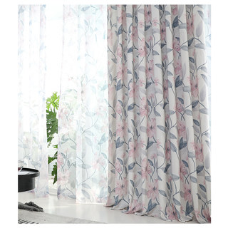Spring Bloom Pink Floral and Foliage Print Sheer Voile Curtains 4