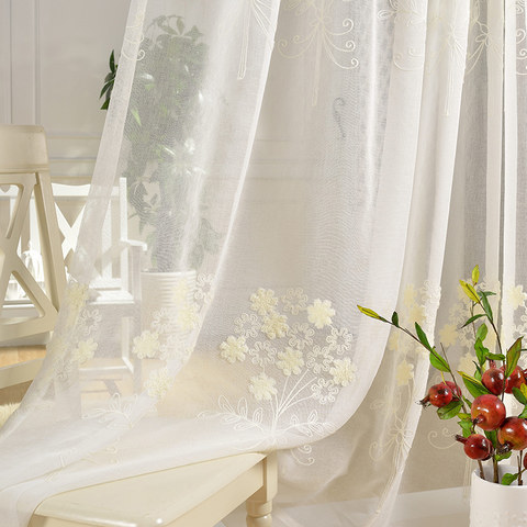 Sheer Curtain Flower Banquet White Floral Embroidered Voile Curtain 1