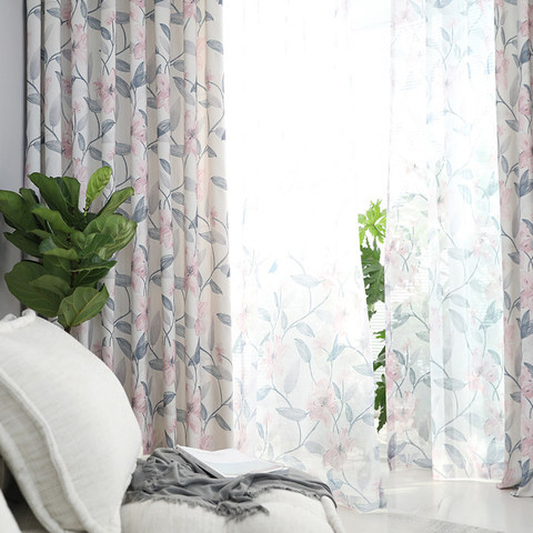 Spring Bloom Pink Floral and Foliage Print Sheer Voile Curtains 5