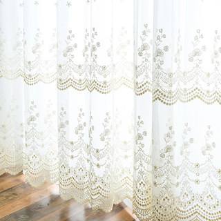 Royally Gold Intricate Detailed Embroidered Sheer Voile Curtain 1