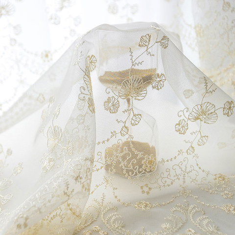 Royally Gold Intricate Detailed Embroidered Sheer Voile Curtain 4