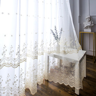 Royally Gold Intricate Detailed Embroidered Sheer Voile Curtain 5