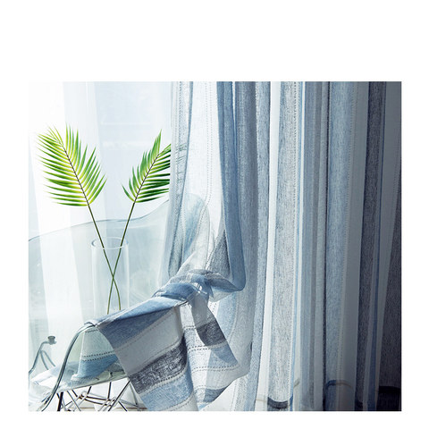 Cloudy Skies Blue and White Striped Sheer Voile Curtains with Textured Bobble Detailing 7