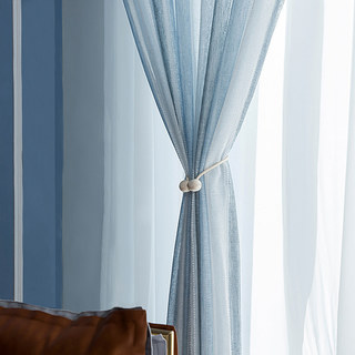 Cloudy Skies Blue and White Striped Sheer Voile Curtains with Textured Bobble Detailing 5
