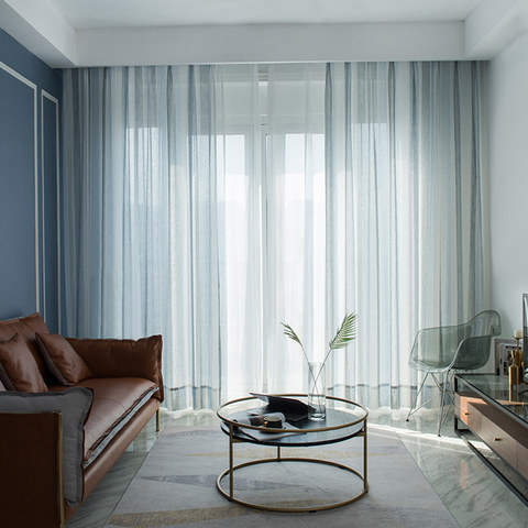 Cloudy Skies Blue and White Striped Sheer Voile Curtains with Textured Bobble Detailing 1