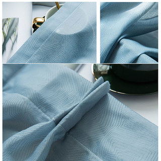 Lino Textured Blue Sheer Voile Curtain 4