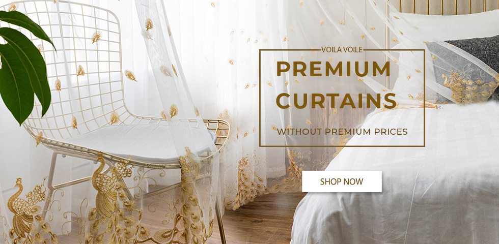 Luxury Bird Design Voile Curtains