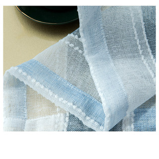 Cloudy Skies Blue and White Striped Sheer Voile Curtains with Textured Bobble Detailing 10