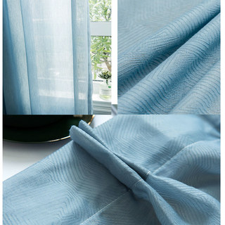 Lino Textured Blue Sheer Voile Curtain 5