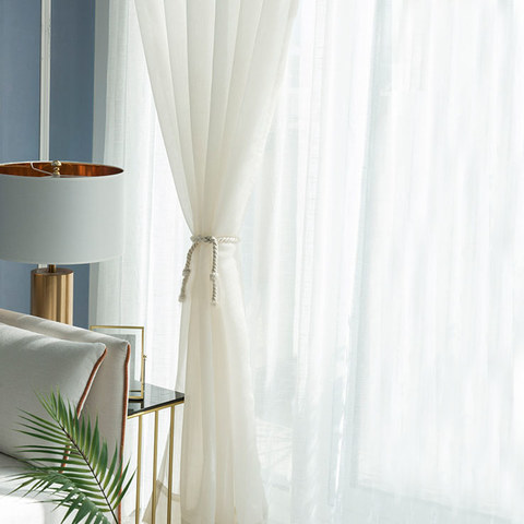 Lino Textured White Sheer Voile Curtain 7
