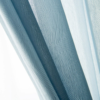 Lino Textured Blue Sheer Voile Curtain 6