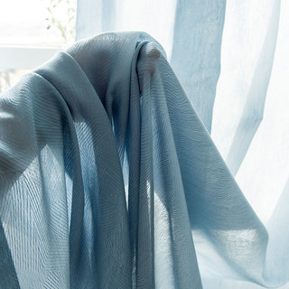 Lino Textured Blue Sheer Voile Curtain 2